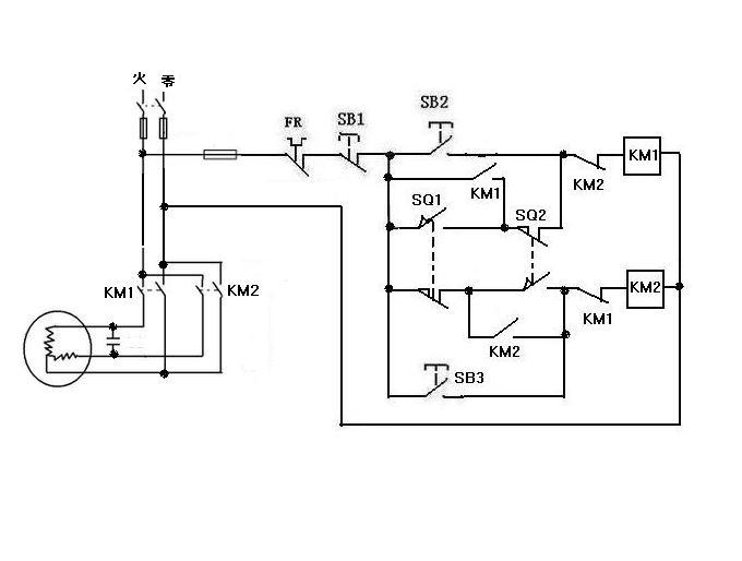 求由行程开关控制220v电机正反转的电路图