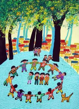 """求大班幼儿绘画作品----""""秋天的树林""""的图片!"""