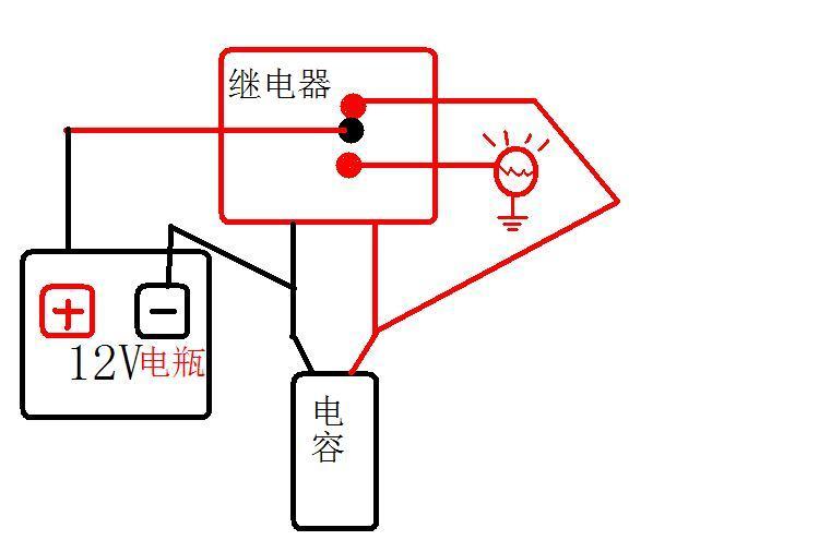 这是一个简易汽车闪光灯电路,这个电路中,能否用2个三极管代替继电器