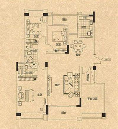 求一份房屋装修设计图?房子建筑134面积平米左右,三室