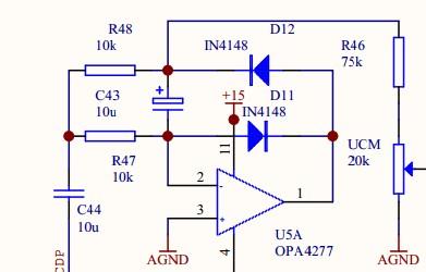 这个电路里有极性电容的作用,另外运放和二极管这样使用是为了限幅吗?