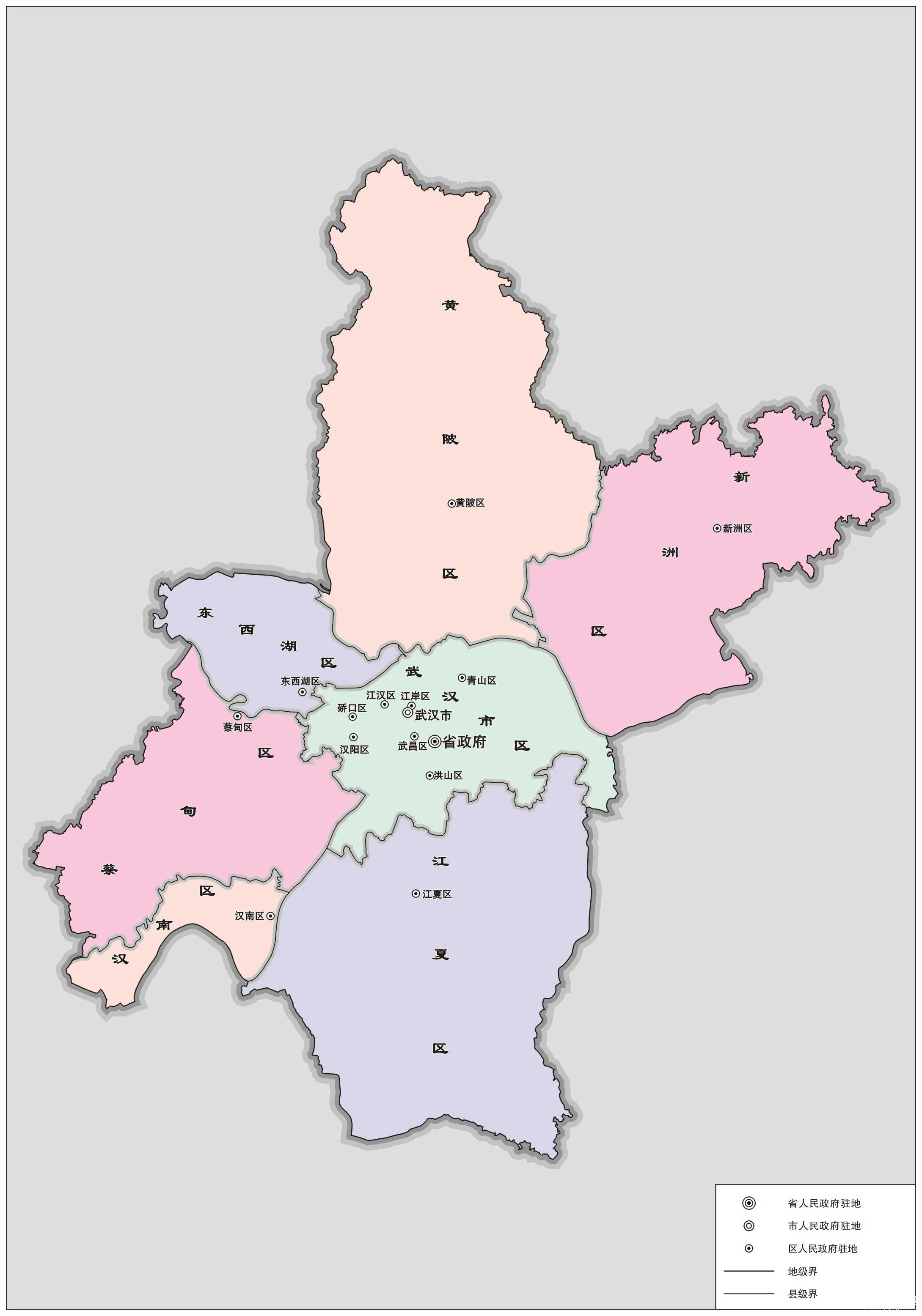 武汉有哪几个大区?图片