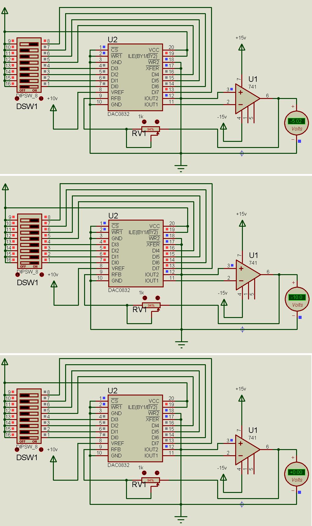 dac0832输出问题,0832的输入是接放大器ua741的,但当0832的输入为0000