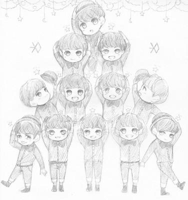 exo动漫萌图简笔画12人叠罗汉
