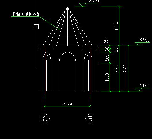 混凝土墙体加盖钢结构屋顶结合部做法