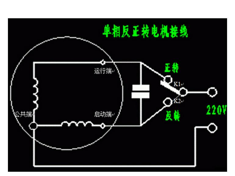 洗衣机电机是单相电机,接线如图