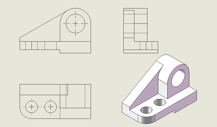 根据所给立体的轴测图,画出其三视图图片