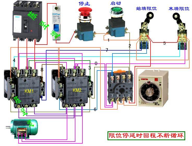 有两个延时闭合的常开计时器,两个交流器,两个行程开关,三个