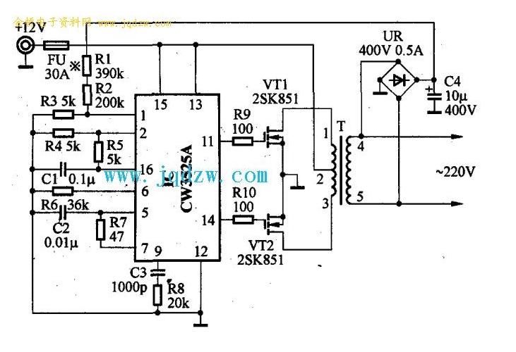 求自制12v转220v逆变器的详细电路图,带原件及数据名