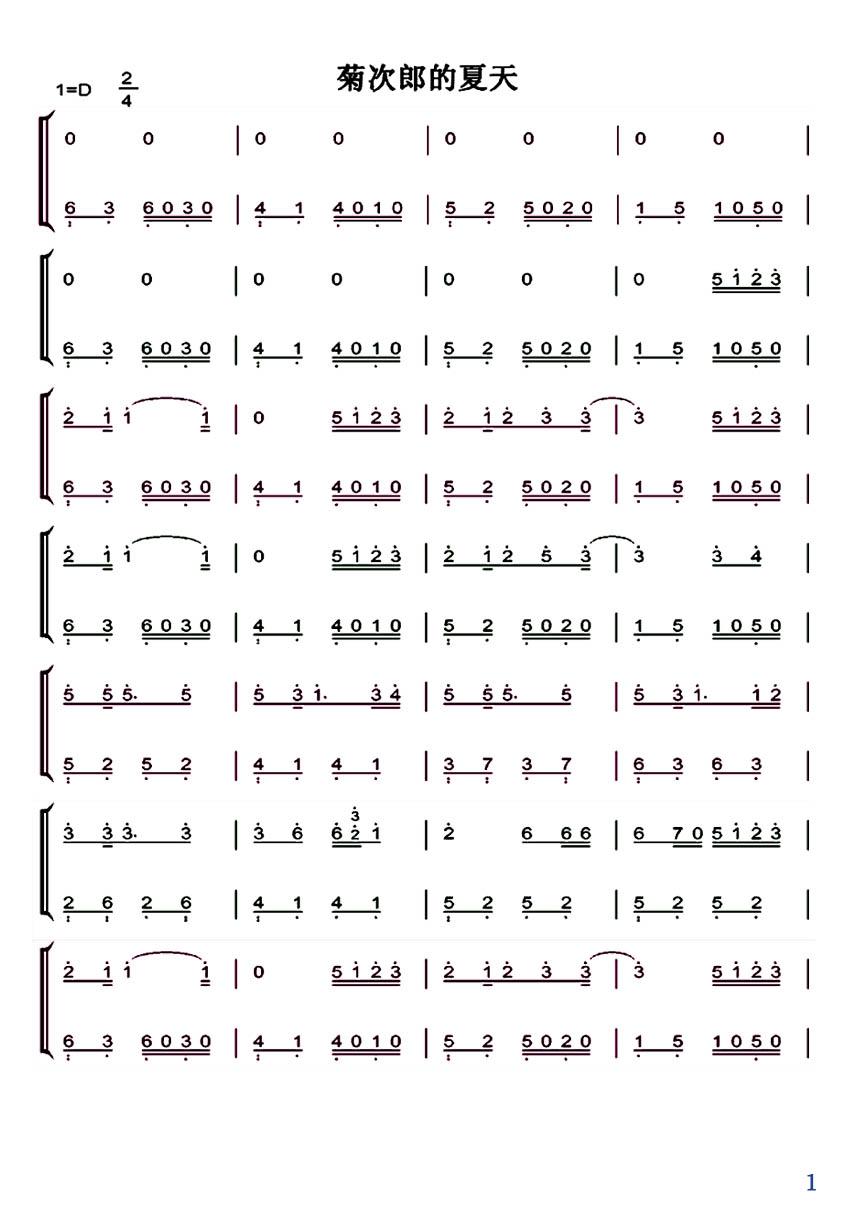 谁有《菊次郎的夏天》钢琴简谱?