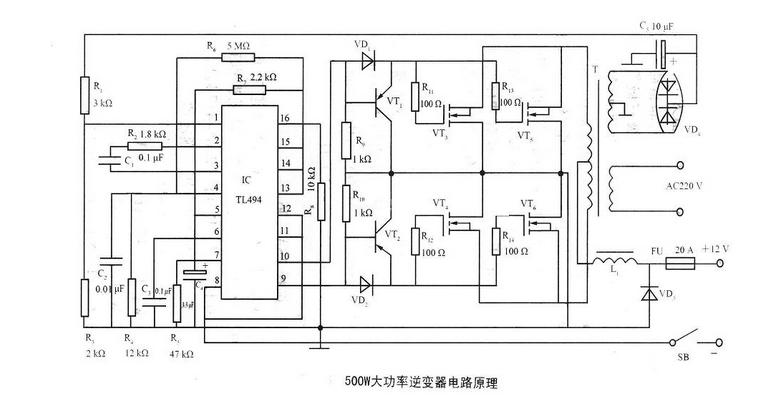 电路f逆变器次级绕组整流输出的15v直流电压作为取样电压,经r1,r3分压