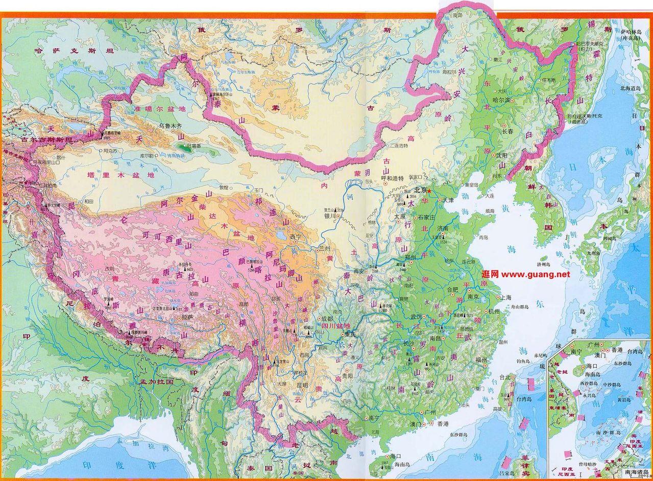 中国山脉河流地图(急用)