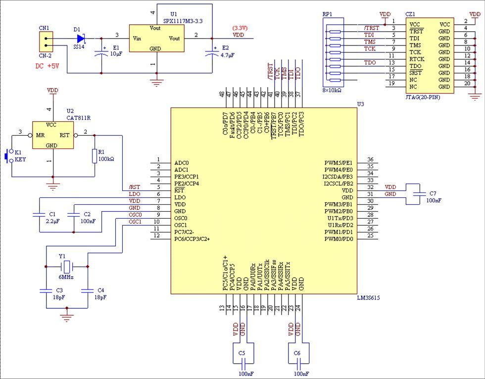 谁有用protel画好的arm最小系统电路图?