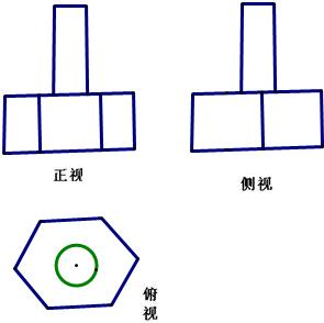 螺栓是棱柱和圆柱的组合体如图,画出它的三视图