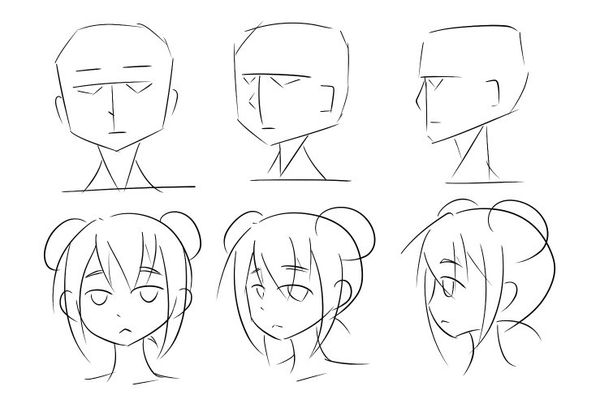 请教教我怎么画动漫人物的半侧脸(如图),我临摹了好多