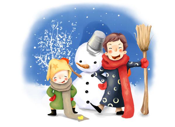 可爱手绘卡通图片堆雪人