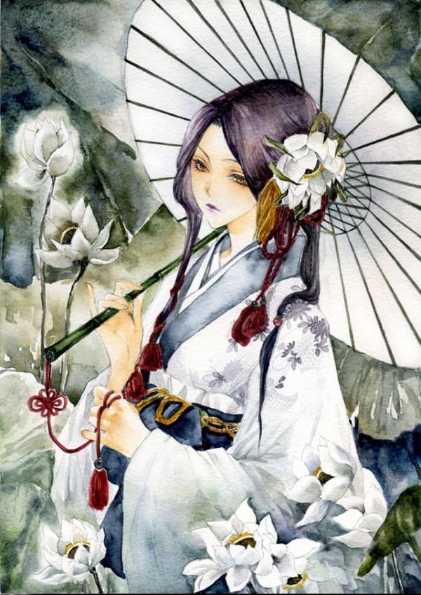 求古风图片:拿伞少女的背影
