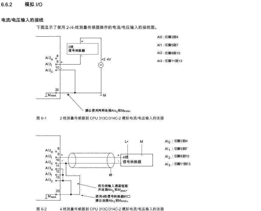 下面是西门子313c的接线图,为什么没有模拟信号呢?