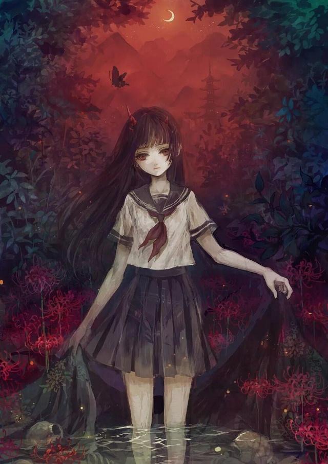 毒一点的女生头像恐怖的,流血的都可以