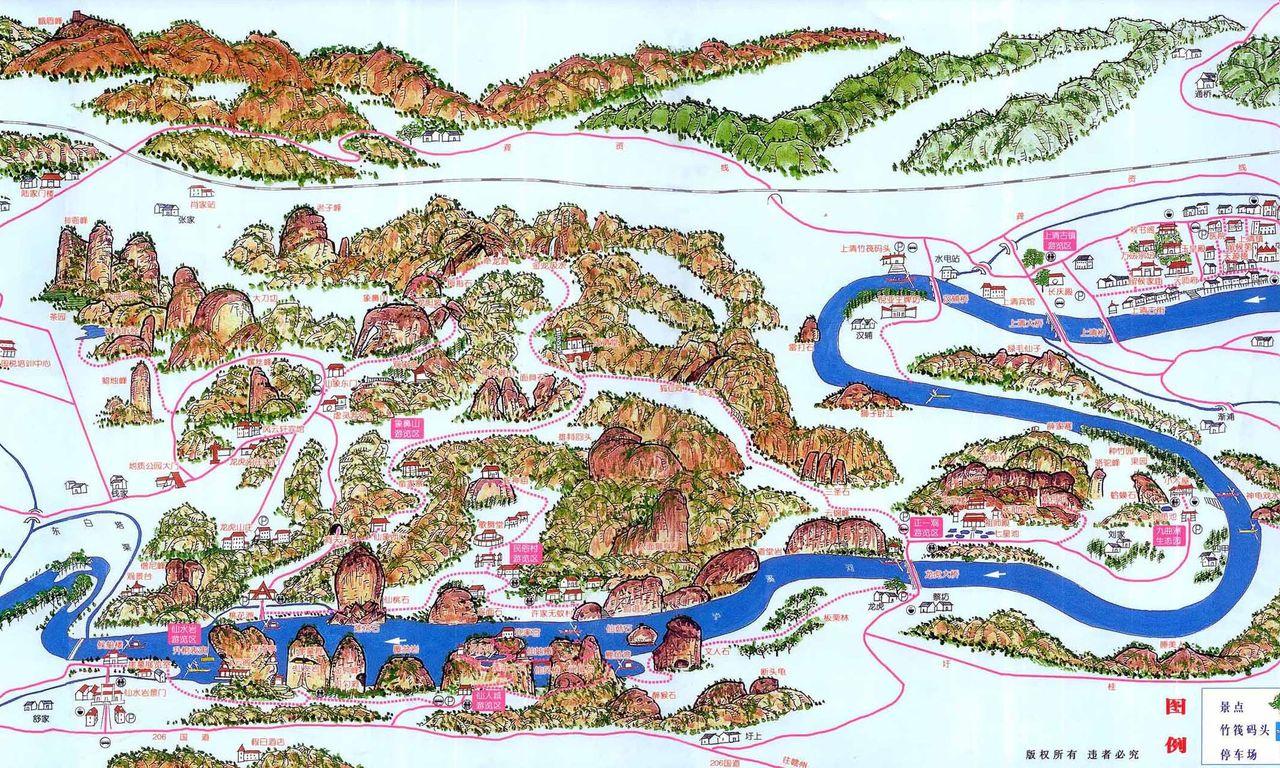 跪求一张龙虎山景区地图,要标出主要景点和路线就行啦