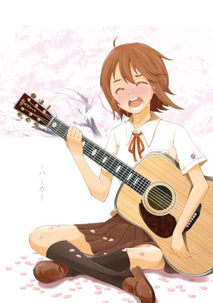 日系手绘弹吉他卡通