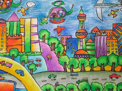 关于小学的画校庆晏家巷图片