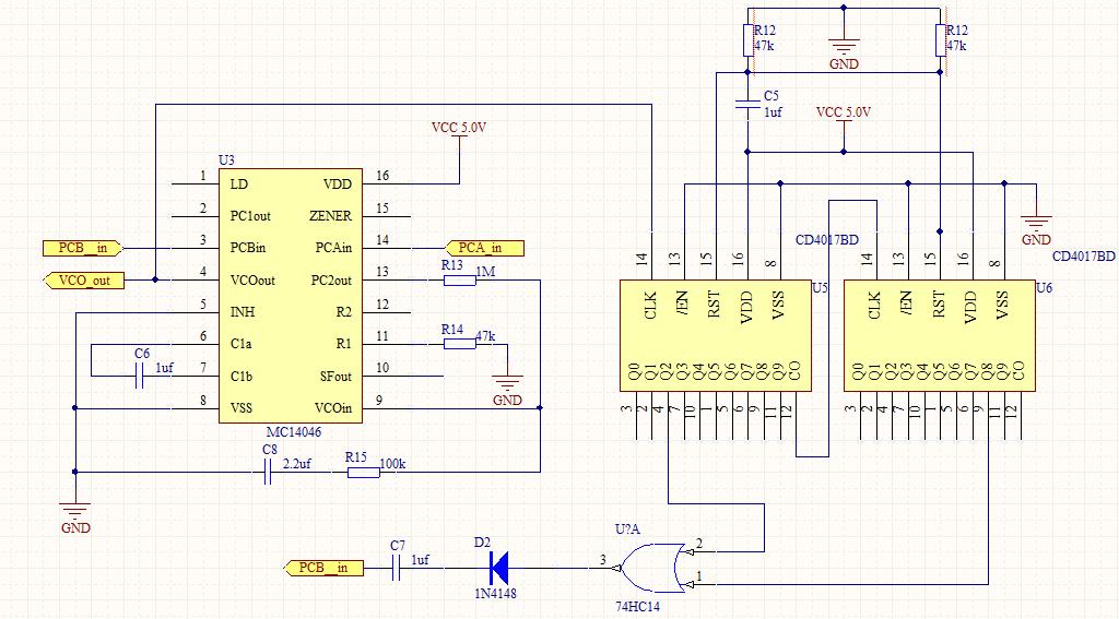 锁相环cd4046和两个cd4017级联组成的倍频电路