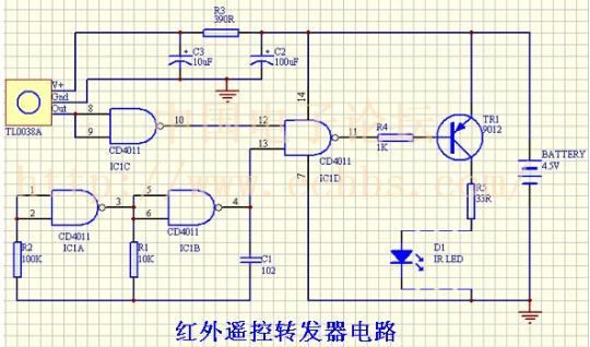 谁有红外发射电路图,载波信号和数据信号都已经分别得出,需要一个电路