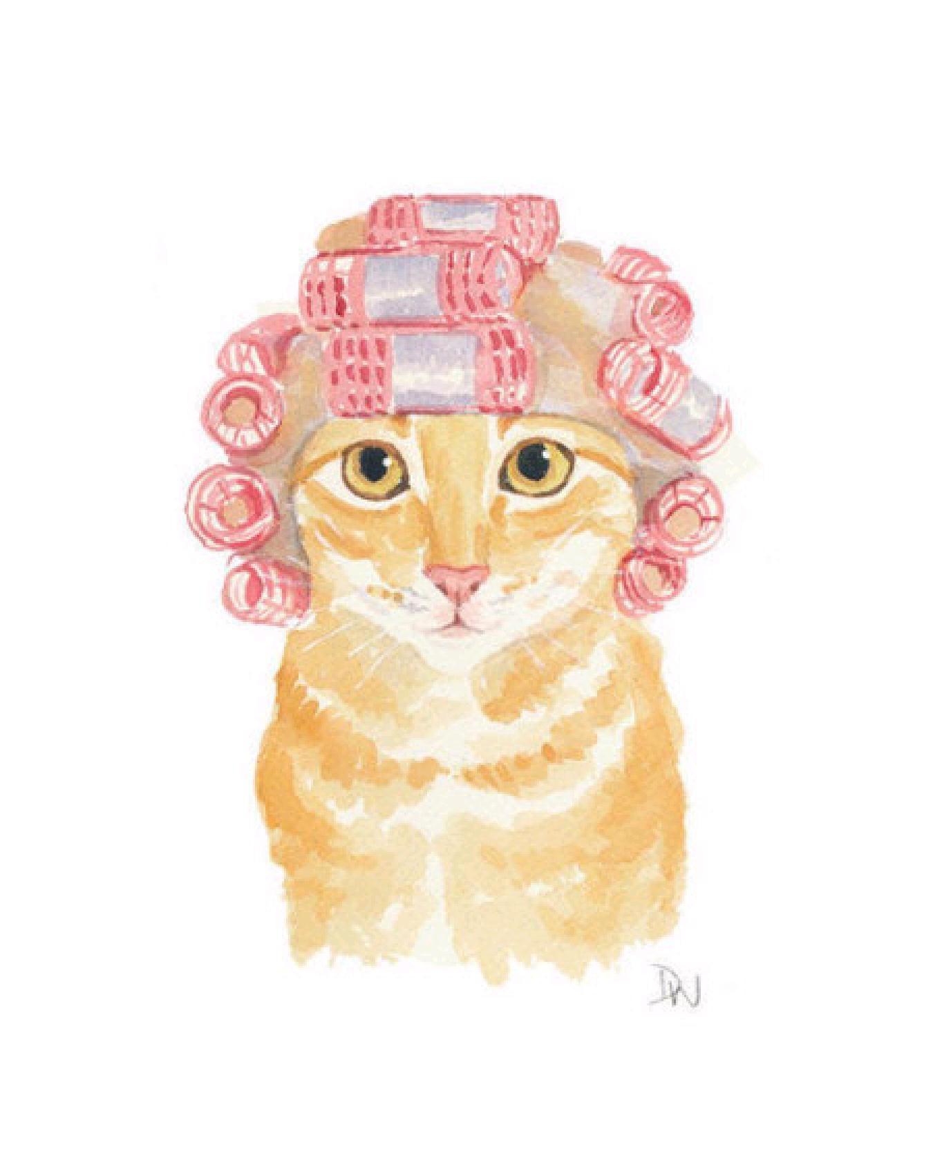 烫头发的猫咪,手绘图.需要