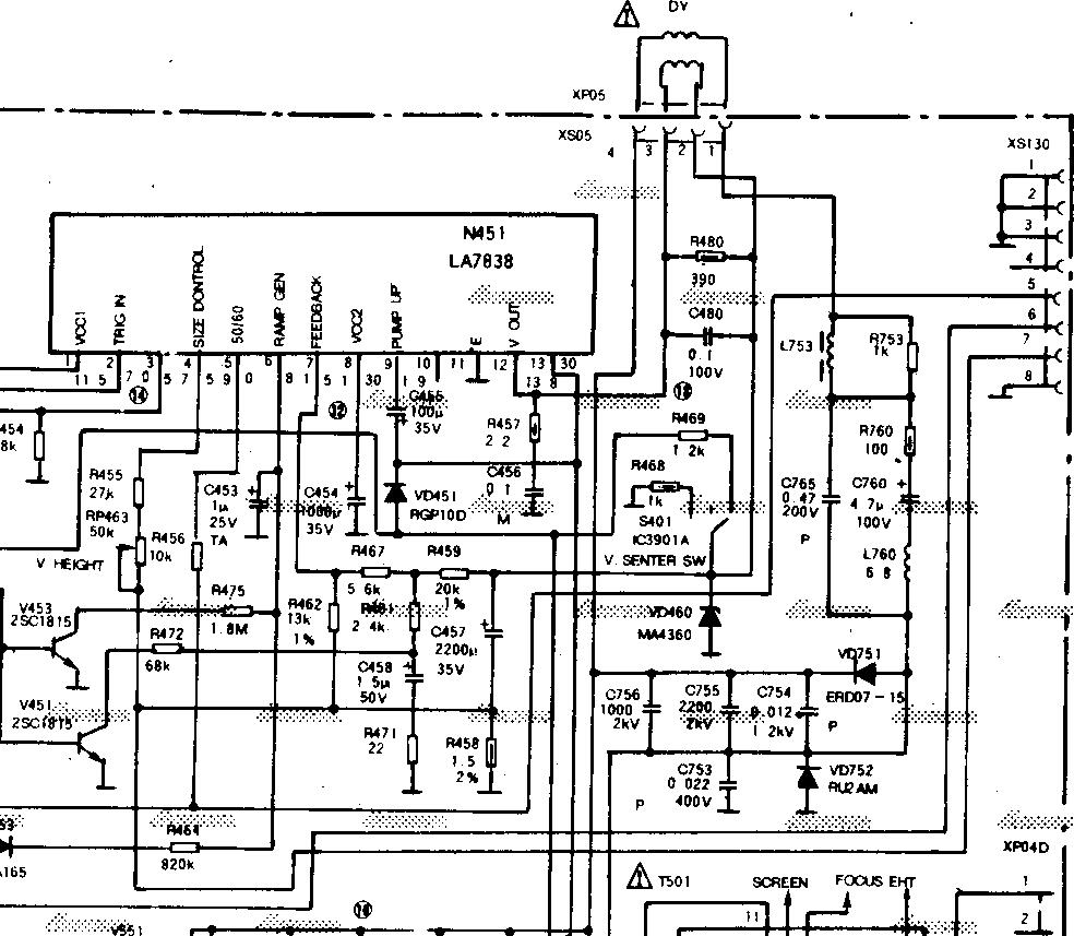 熊猫牌64(CM)C64P1型号的彩色电视出现一条水平亮线的检修 1,测试场供电电压是否正常; 2,场块LA7838各脚电压值是否正常; 3,场电路里的电容器需要逐只检测; 4,检测场偏转线圈是否短路; 5,偏转线圈插脚是否虚焊。 LA7838各脚电压参考值及脚位功能: LA7838(LA7837也可参考此电路,两者的区别仅在于输出电流不同) 1脚:9.