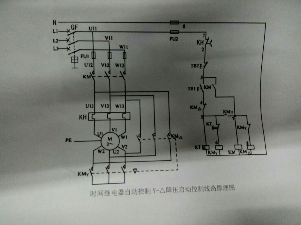 时间继电器自动控制星形三角形降压启动控制线路的接线图?