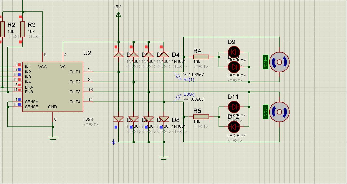 下图是l298n驱动直流电机电路图,想请问下那8个in4001