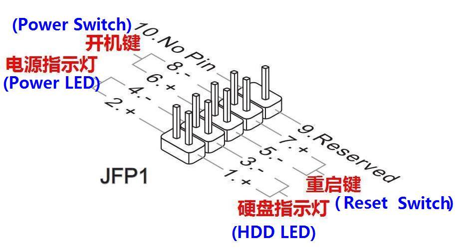 微星p43i主板与机箱连接图