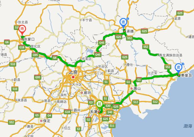 天津到秦皇岛,承德避暑山庄,张家口自驾游路线:869.