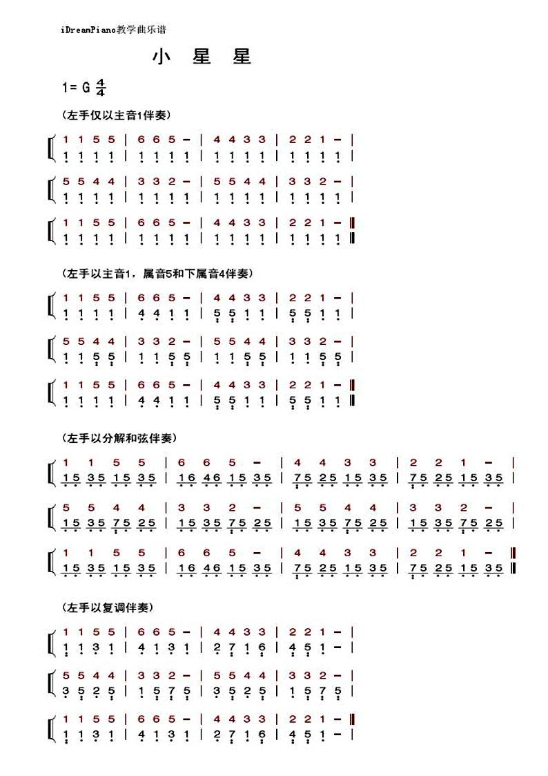 电子琴小星星简谱左手右手对应的曲子,谁帮助我详细写