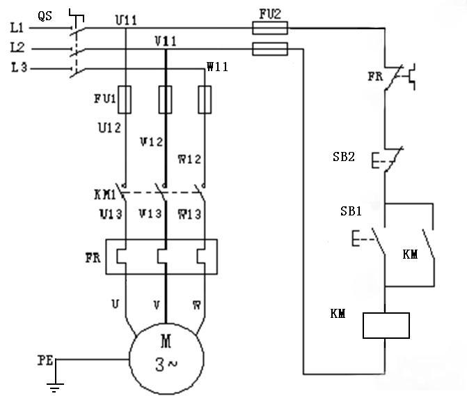 电动机正转自锁控制电路的实物接线图怎么连?有图.
