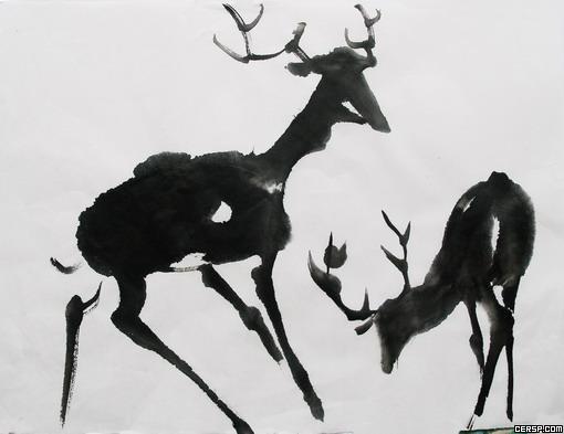 怎样画喝水的梅花鹿