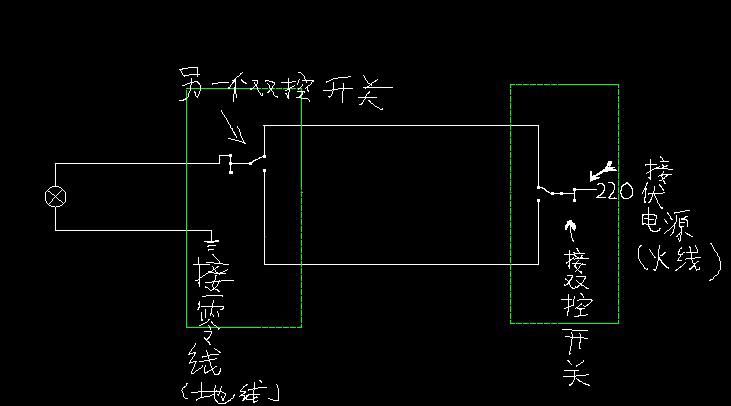 卧室灯的电路图 接一下开关 要求进门可以开灯 在床上