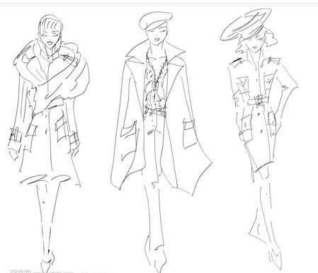 怎么画模特服装素描画