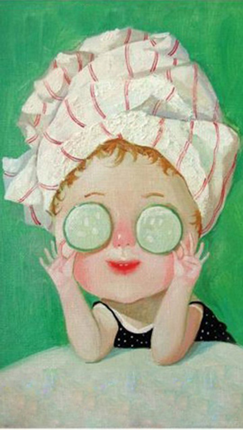 求这张小女孩贴黄瓜卡通图片的高清图,越高清越好!(附图)