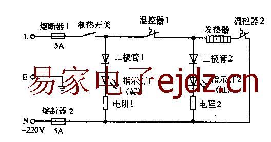 温控器1是1,2接线柱那个,温控器2是3,4接线柱,加热胆两边是5,6接线柱.
