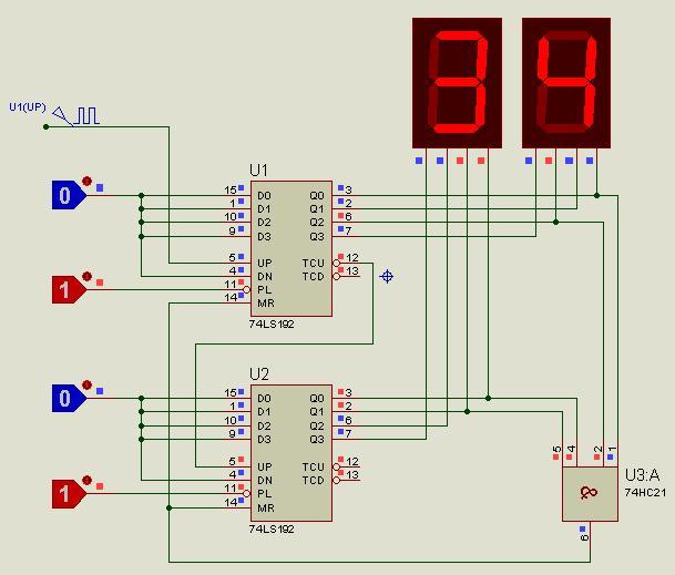数字逻辑实验 34进制计数器,用2个74ls192芯片连接,给个电路图,最好标