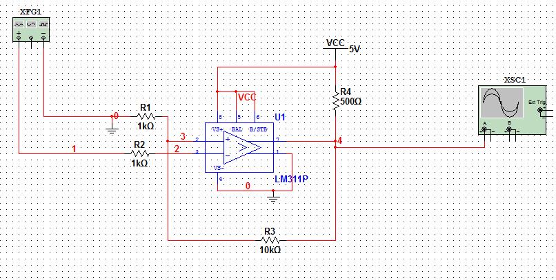 lm311过零比较器仿真的波形失真,实际连电路时没波形