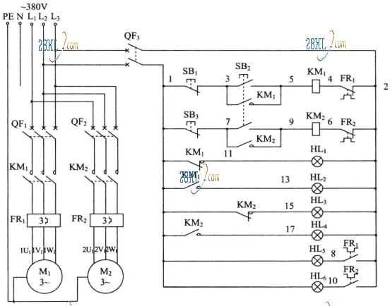 用任意个按钮和两个接触器控制两台电机同时启动分别停止的线路图