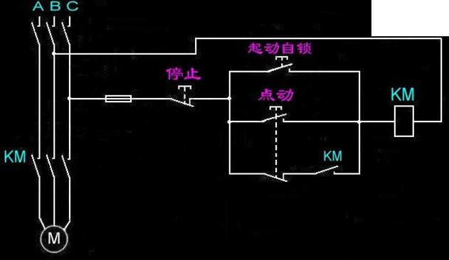 380交流接触器接线 点动 自锁