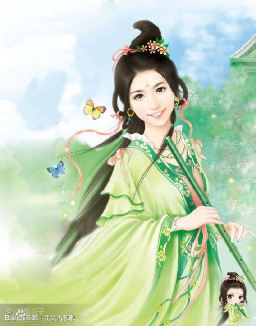 手绘古装绿衣美女图片