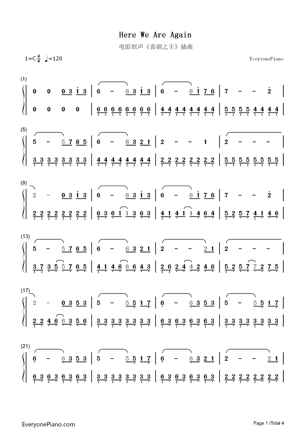 求大神翻译,有五线谱,有简谱,两种,翻译成吉他谱,要适合弹奏的,谢谢