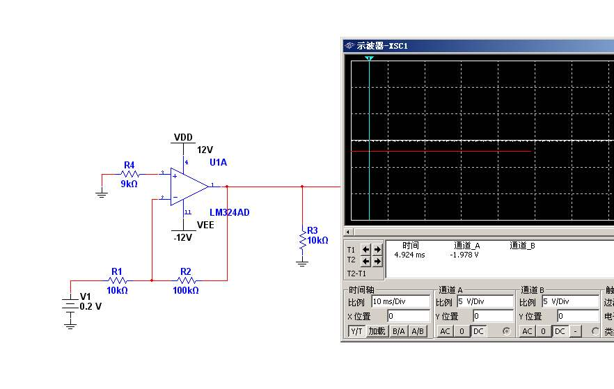在进行multisim仿真运算放大器电路时,怎么不能放大直流信号?