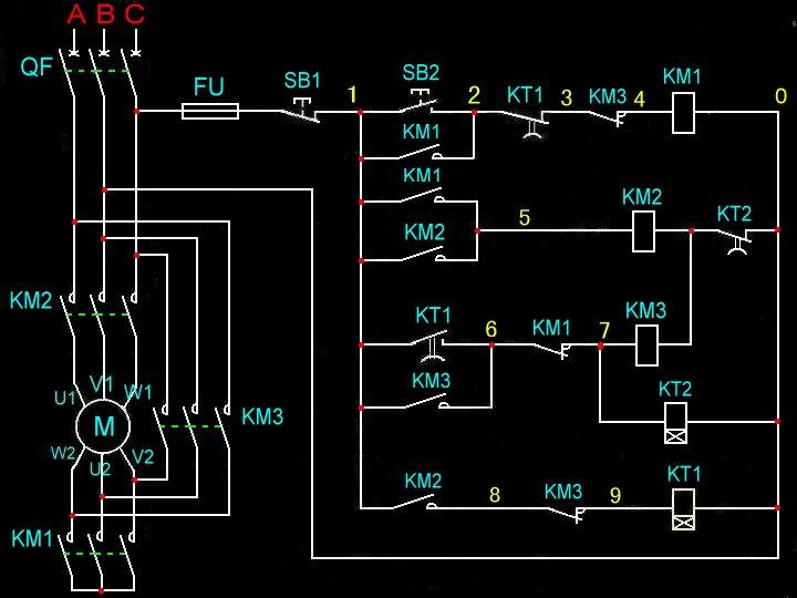 y/△启动延时停机电路图