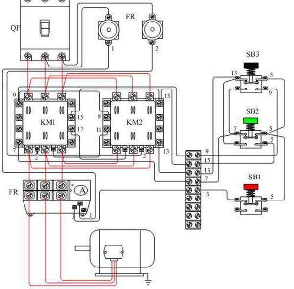 双重联锁正反转控制电路接线图: 2,电路组成 本电路由电源隔离开关